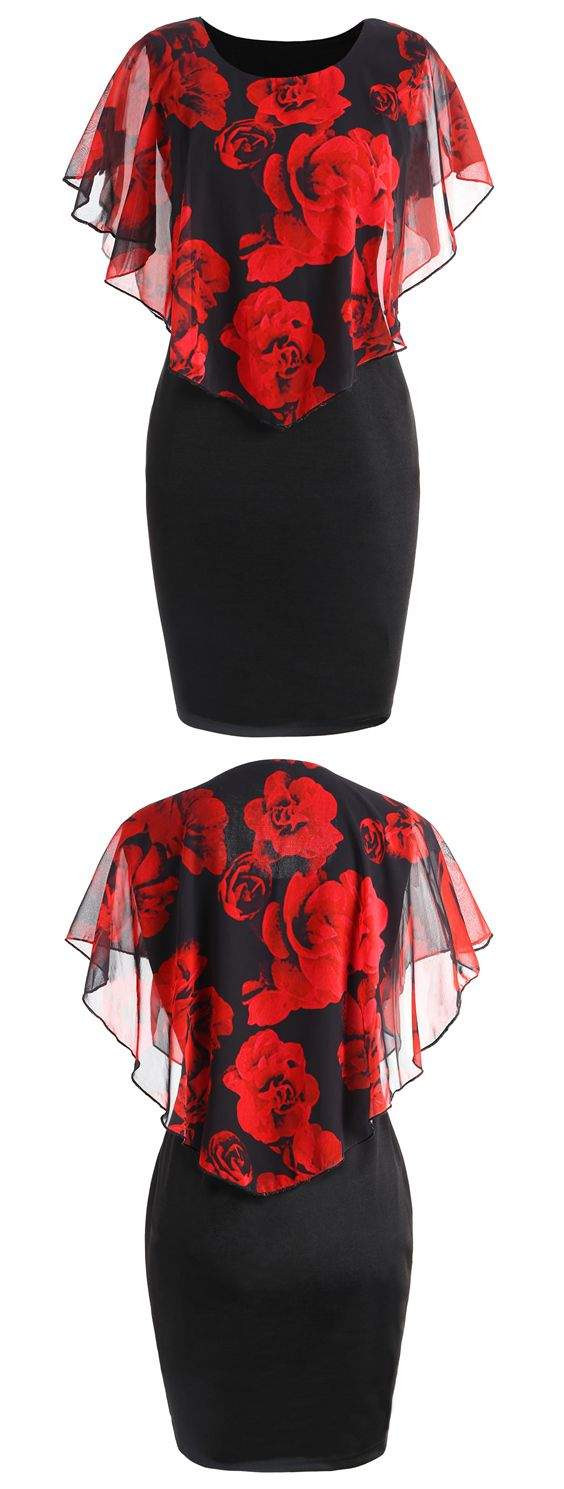 Plus Size Rose Valentine Overlay Capelet Dress #Gamiss