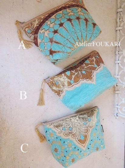 モロッコアラベスク柄ファブリックの化粧ポーチ・ロワイヤルブルー - モロッコ雑貨とモロッコファッション|Atelier FOUKARI