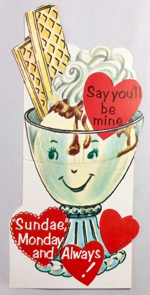 Ice Cream Sundae Old Fashion Glass 1950s Vintage Valentines Day Greeting Card