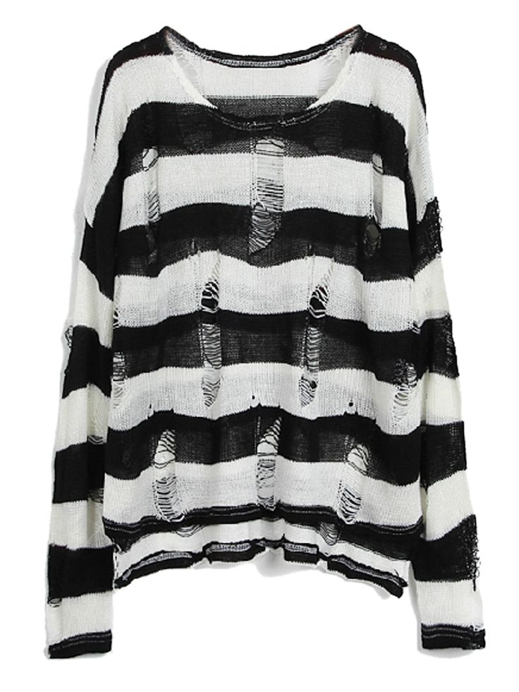 SheIn offers Black White Striped Long Sleeve Ripped Hollow Sweater & more  to fit your fashionable needs.