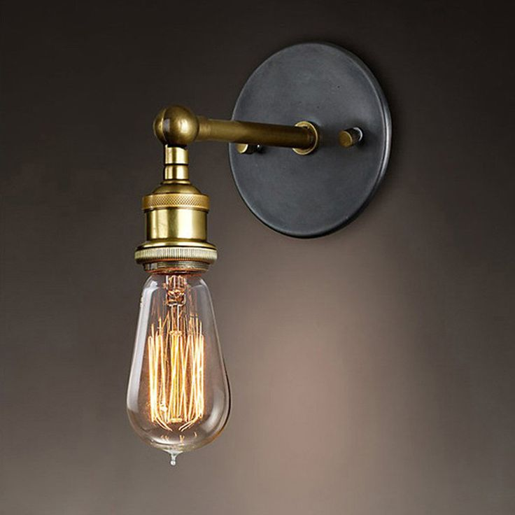 E27 110-220V Vintage Wall Lamp Loft Coppor Industrial Edison Simple Fashion Lamp Rustic Sconce Wall Light Free Shipping