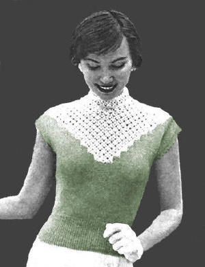Lacy Yoke Sweater Top Vintage Knitting Pattern for download - To fit 33-34, 36-37 inch bust