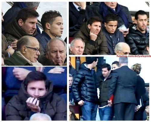 Messi no Camp Nou : Olá,  Ontem o Barcelona venceu o Elche por 4 x 0, gols de Alexis Sanchez(3) e Pedro, Messi não foi escalado para o jogo, mas apareceu para prestigiar seus colegas da tribuna. Messi assistiu o jogo ao lado de Afellay e Busquets, na próxima quarta tem jogo pela Copa do Rei, mas ainda não é certo que Leo participe. Eu agora estou bem cabreira, então esperarei o quanto for preciso para vê-lo jogar novamente, só não que