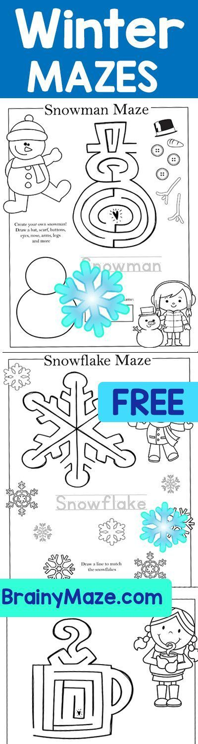 Free Winter Mazes for Preschool and Kindergarten Students.  Snowman Maze, Snowflake Maze, Hot Cocoa Maze, Ice Skating Maze, Toboggan Maze, Winter Clothing Maze and more!   Free Educational Mazes and Activity Pages from BrainyMaze.com