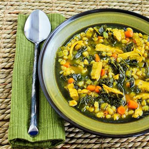This tummy-warming chicken soup has farro, kale, and turmeric to brighten the flavors. [Kalyn's Kitchen]