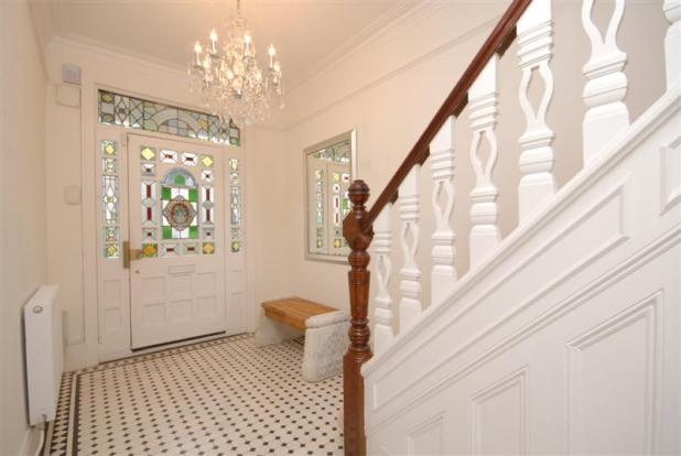 Stained glass Edwardian (Victorian?) door, Entrance hall and stair banisters...