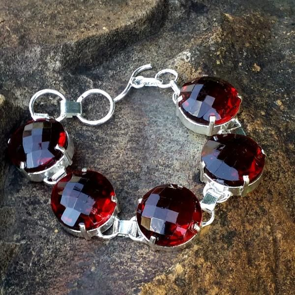 Hand Crafted Lab Created Round Cut Red Garnet Chunky Bracelet