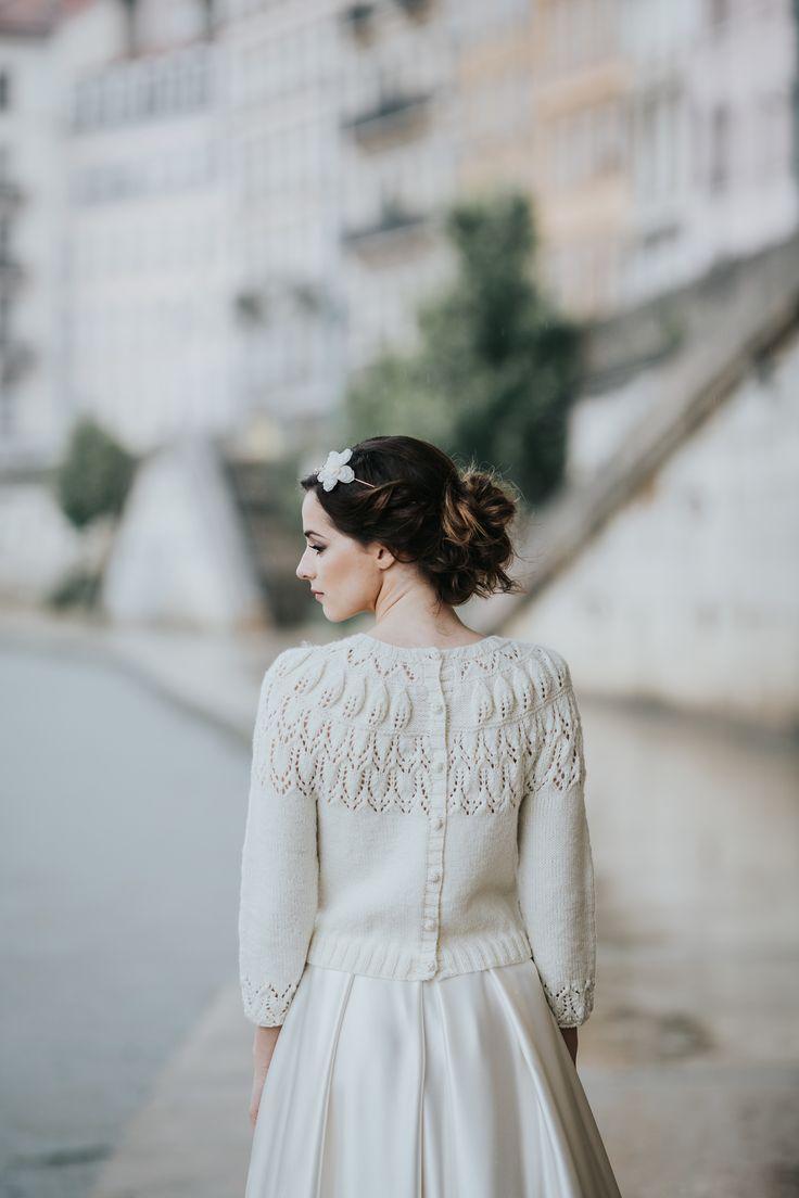 pull de mariée - cardigan de mariée - tricot boutonné pour mariage - pull rustique - accessoire mariage hiver - laine merinos