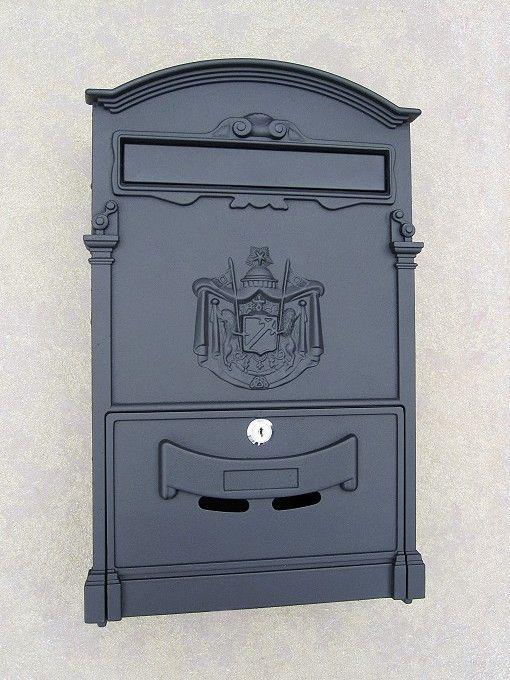 »Briefkasten anthrazit wandhängend mit Entnahmeklappe« von Replicata - Aluguss - Replikate
