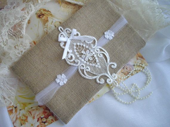 Burlap And Lace Bouquet Wrap or Unity Candle Wrap by handcraftusa