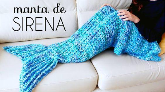 Reciclando con Erika : Manta o poncho de Cola de Sirena a crochet