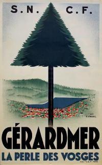 Ski / Sports, Travel Poster: Gérardmer, Vosges - French travel poster , Country: France , Artist: P. Zenobel