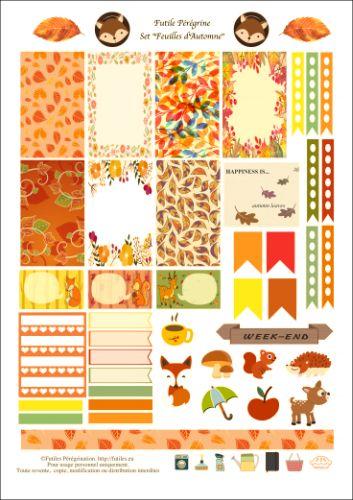 Gratuit/free stickers pour Happy Planner ✯ Feuilles d'Automne. Very nice.