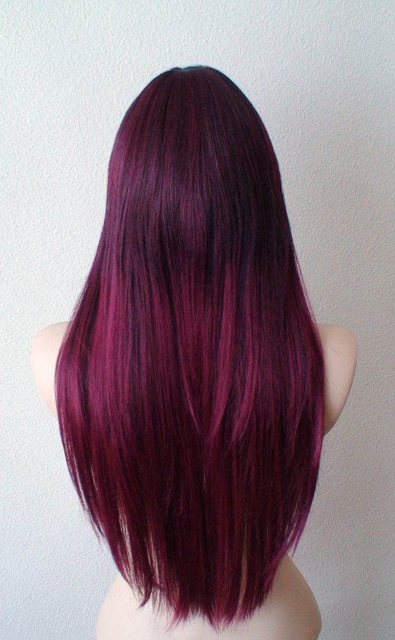 Ombre Wig Wine Red Ombre Wig Long Straight Hairstyle Wig