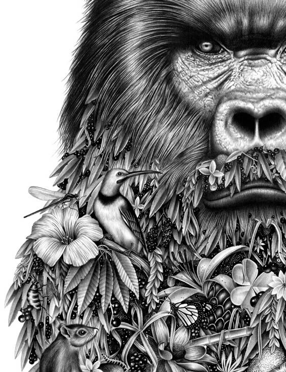 Incredibly Detailed Drawings Merge Wildlife And Human ...