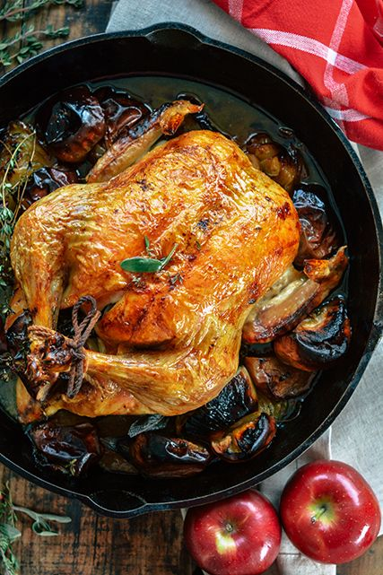 Cast Iron Roast Chicken With Apple Onion Sage In 2018 Good For