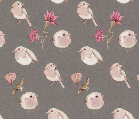 Birds and Blooms fabric by mariden on Spoonflower - custom fabric