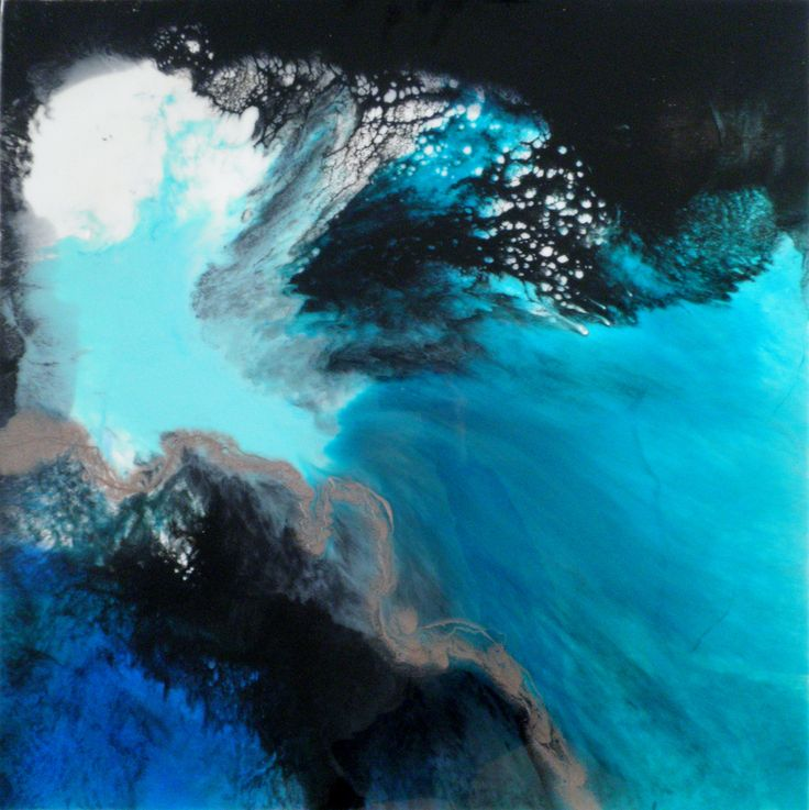 Cove, Sea art, Acrylic, ink and resin on canvas Grace Louise