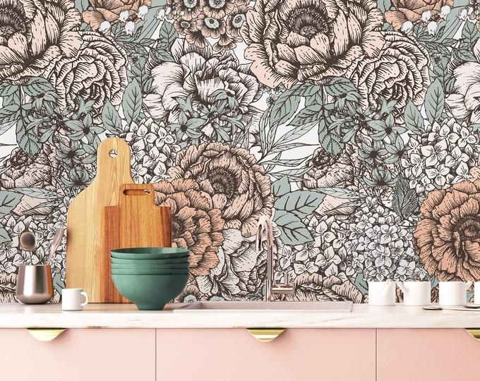 Roses And Cactus Removable Wallpaper Peel And Stick Etsy Wallpaper Removable Wallpaper Wall Wallpaper