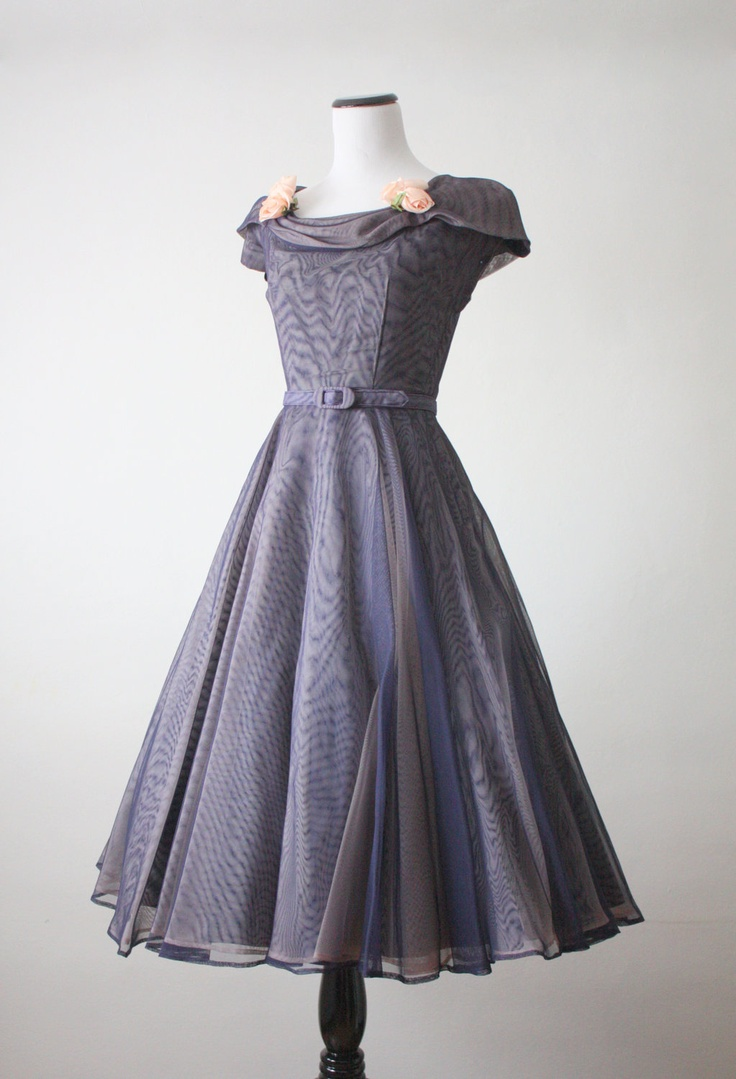 1950s iridescent party dress with Rose detail