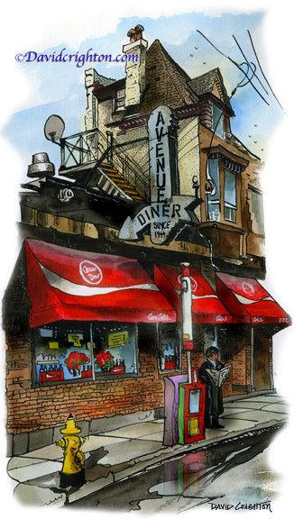 Avenue Diner, Toronto, Canada by artist illustrator David Crighton Art