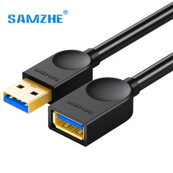 SAMZHE USB3.0 Extension AM/AF A Male to A Female Cable 0.5m/1m/1.5m/2m/3m Data Sync Transfer Extender USB Extension Cord Cable   Price: 3.83 USD