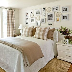 Love the fabric idea with our quilt, etc. with taupe-ish carpet; Khaki Gingham Bedroom | SouthernLiving.com | #SLIdeaHouse