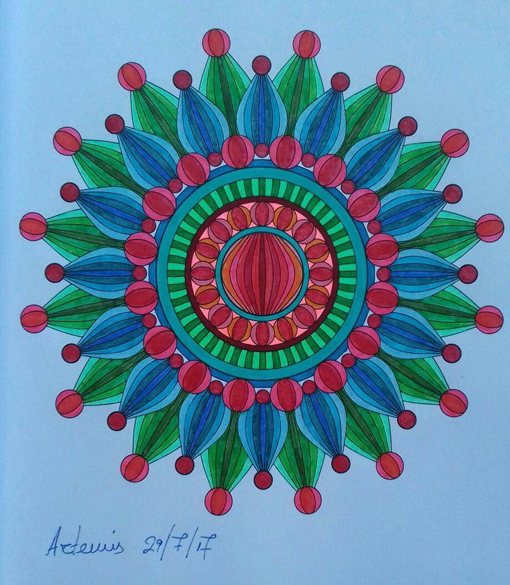 Week 64, 29072017. Mandala design vol. 2 by Jenean Morrison coloured by Artemis Anapnioti.