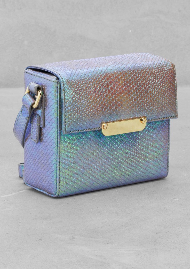 Mini leather shoulder bag in light blue metallic by & Other Stories, £65 ----this material is lovely!!!!