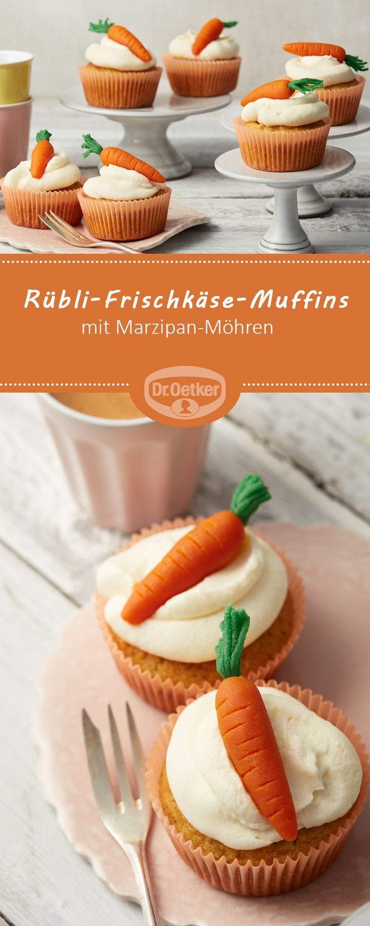 Rübli-Frischkäse-Cupcakes - Beliebte Cupcakes mit Marzipan-Möhren und Frischkäse-Topping #ostern #rezept #lecker