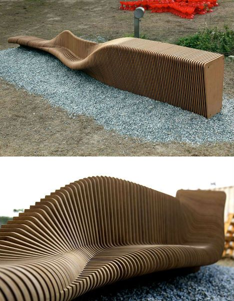 The designers, Rocker Lange, use a computer program that takes data about the intended site and creates a form that offers multiple seating solutions including a flat bench, a sloped area for lounging and a seat with a  back.