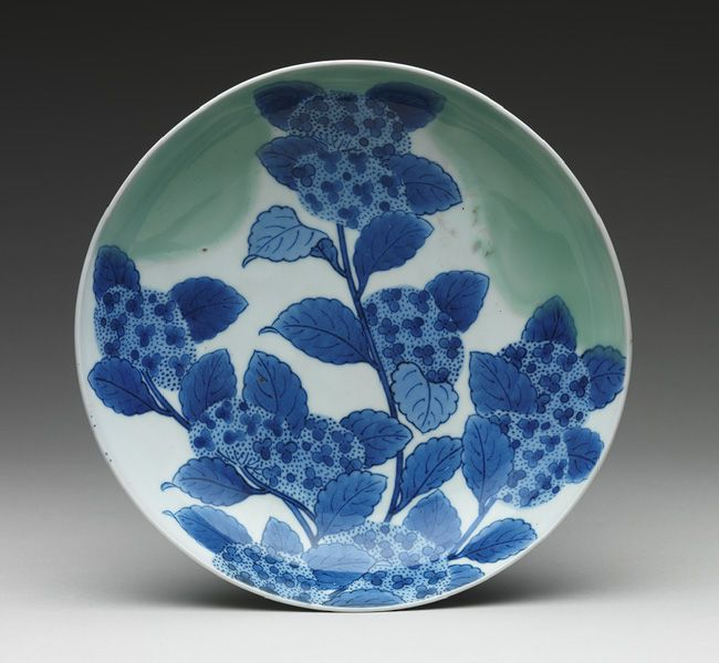 Edo period (1615–1868), 18th century Japan Porcelain with celadon glaze and underglaze blue decoration (Hizen ware, Nabeshima type) H. 2 1/4 in. (5.7 cm), Diam. 8 in. (20.3 cm)