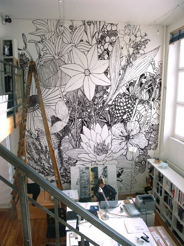 Wall flower ink drawing
