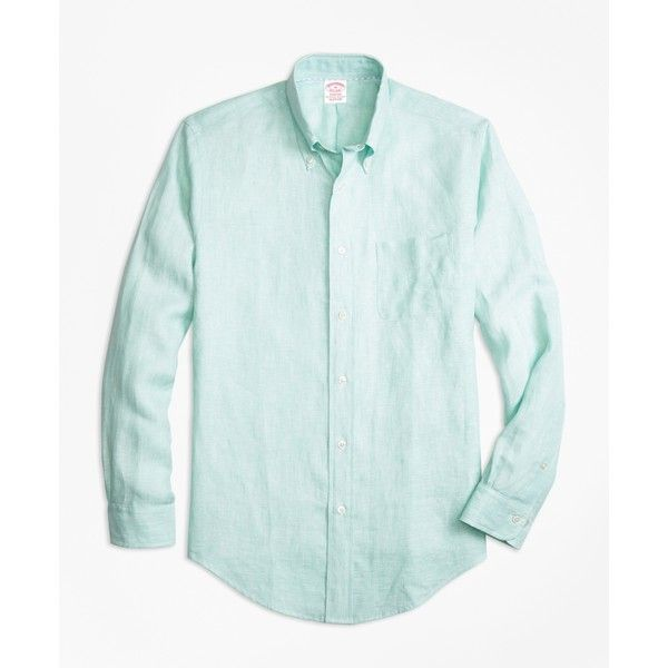 Brooks Brothers Madison Fit Irish Linen Sport Shirt ($105) ❤ liked on Polyvore featuring men's fashion, men's clothing, men's shirts, men's casual shirts, green, mens classic fit shirts, mens pleated shirt, brooks brothers mens shirts and mens long sleeve shirts