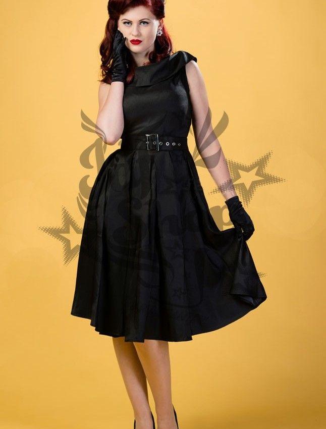 """Vestido Pin Up Scarlett. Vestido negro de satén con escote de barco doblado, cinturilla con varios pliegues que se abren en una falda efecto """"swing"""". Cinturón ancho que dará un efecto estilizado a tu figura. 60€"""