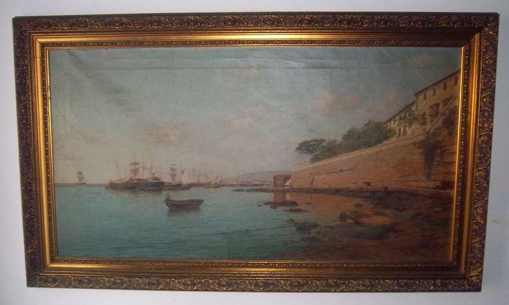 "Enrique Florido Bernils. Pintor de la escuela malagueña de pintura del siglo XIX.  ""Puerto de Málaga"""