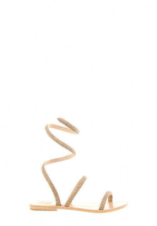 Sandalo in pelle colore oro con strass e spirale alla caviglia. Altezza tacco approssimativa 1 cm. Sottopiede in vera pelle