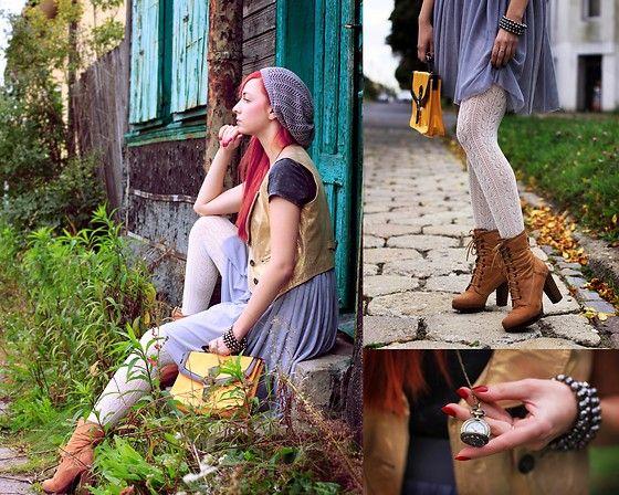More looks by Karolina Gazela ***: http://lb.nu/modi_modisho  #skirt #brownshoes #grayskirt #goldjacket #redhair #vintage