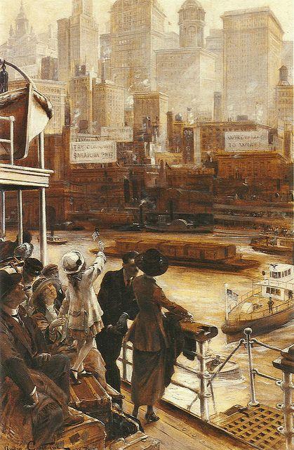 "Jean André Castaigne (French, 1861-1930), ""L'arrivée à New York"" | Flickr - Photo Sharing!"