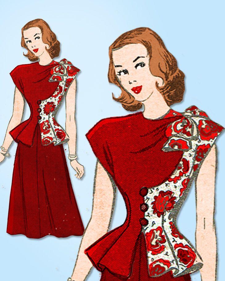 1940s Vintage American Weekly Sewing Pattern 3805 Uncut Misses Peplum Dress 38B #AmericanWeekly