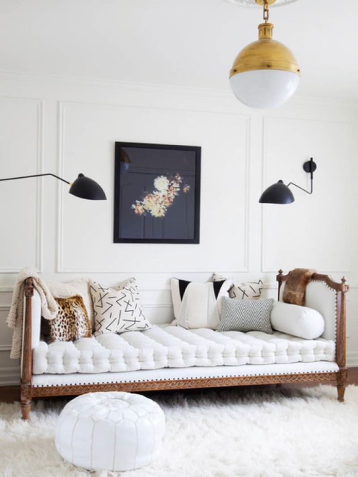 Talk about swoon-worthy! Just imagine leaning back, reading a book, maybe dosing off for a few minutes, and then digging your toes into a shaggy, puffy rug. This room (featured in an inspiration gallery on Citizen Atelier), is a (literal) dream. A daybed in your living room, office, den, or guestroom can be all this.. and more!