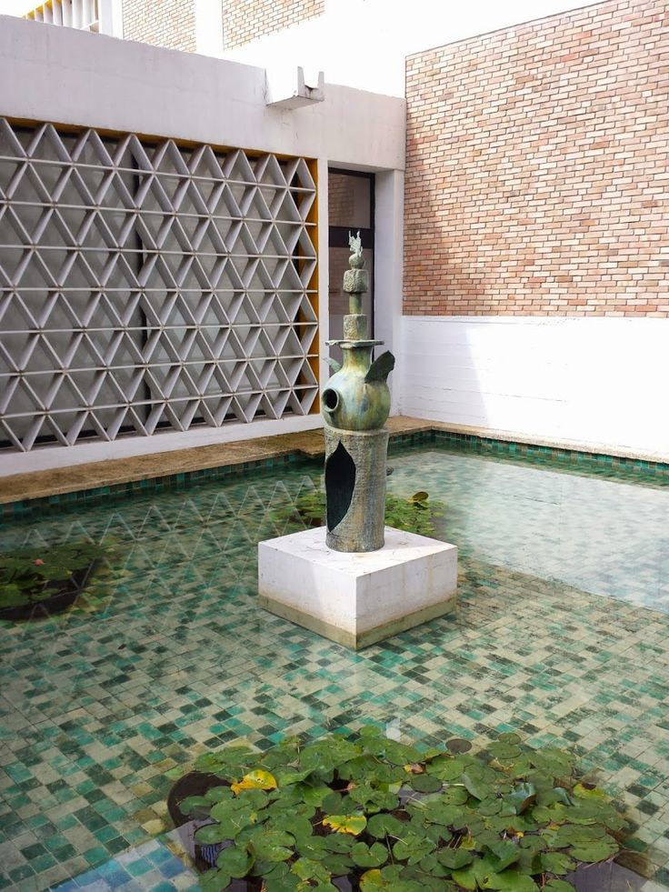 Miro in shallow tiled pool, Maeght Foundation, St Paul de Vence