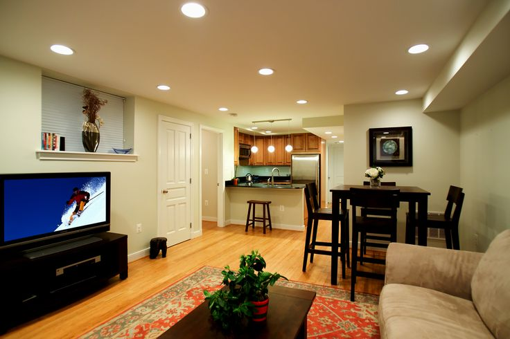 basement apartments | Living room and kitchen of basement apartment in Georgetown