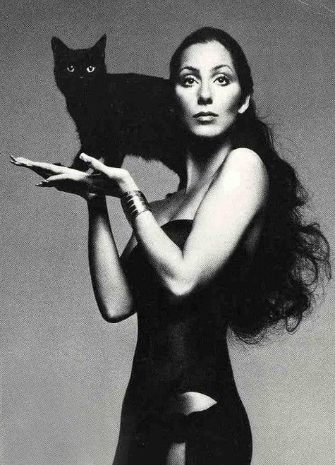 cher black and white | Cher-with-Black-Cat-Dark-Lady