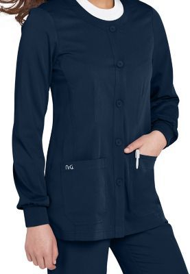 <h4>KICK-BACK CARDIGAN</h4>Even when the day is hectic, you can still chill out in our casual cardigan-style jacket. Ultrasoft fabric is durable, practical, and polished, and our fitted V-neck style lets you stay warm and comfy.  More must-haves: elastic cuffs and pockets to spare. Greys Anatomy Button-Front V-Neck Scrub Jacket <ul> <li>V-neck scrub jacket <li>Button front <li>Four pockets, including two double patch pockets with a pen compartment  <li>77 percent polyester/23 percent rayon…