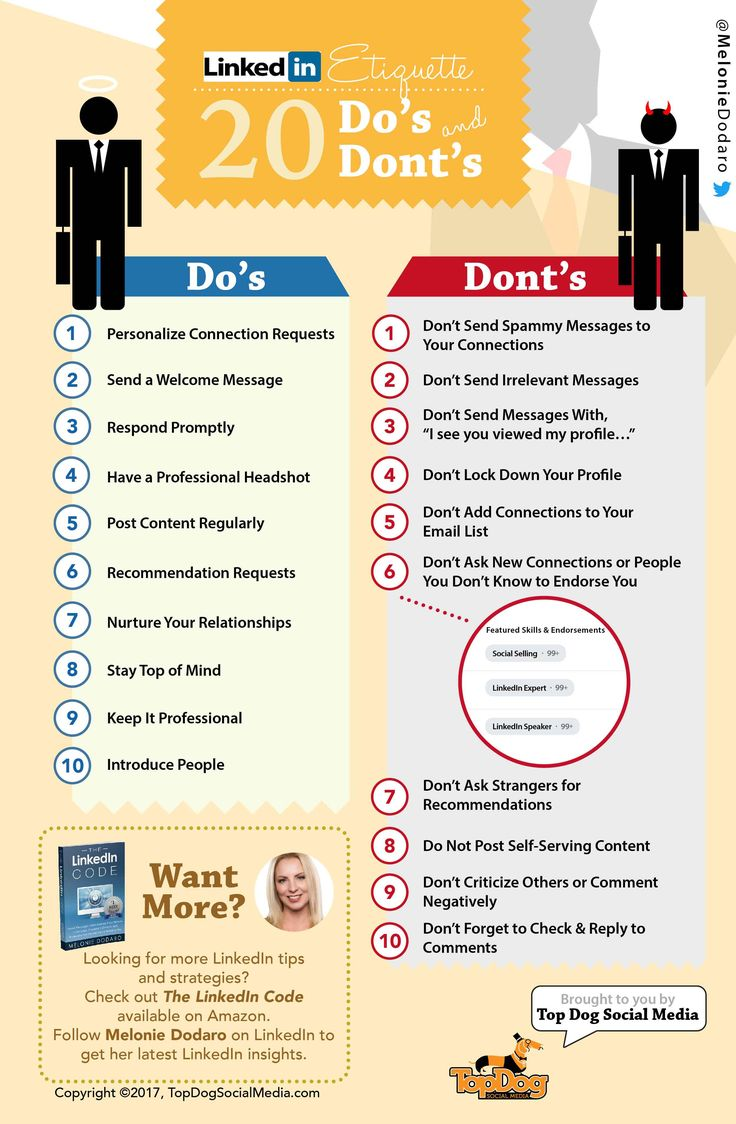 LinkedIn Etiquette Guide 2017: 20 Do's & Don'ts [INFOGRAPHIC]