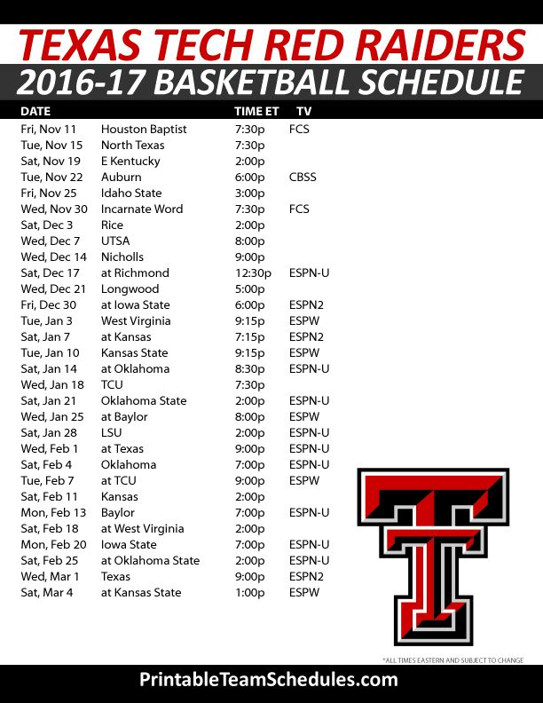 Texas Tech Red Raiders Basketball Schedule 2016-2017. Print Here - http://printableteamschedules.com/NCAA/texastechredraidersbasketball.php
