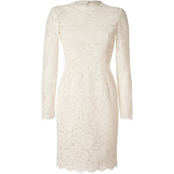 VALENTINO Ivory Long Sleeve Lace Dress (2 615 AUD) ❤ liked on Polyvore featuring dresses, vestidos, valentino, lace, high neck lace dress, long sleeve dress, long sleeve lace cocktail dress, white cocktail dresses and white long sleeve cocktail dress