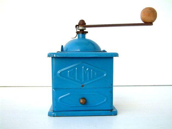 Vintage Spanish ELMA midcentury blue metal coffee by Chanteduc, $70.00