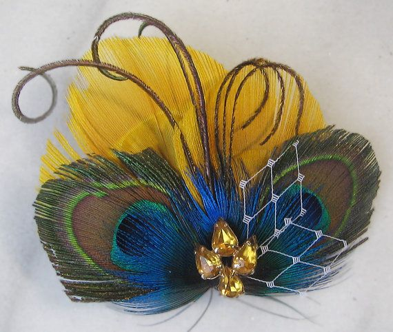 Blue and Yellow Bridal Fascinator Peacock by TheRedMagnolia #mybetsonBetts